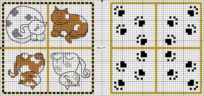 Схема вышивки крестом следы 99