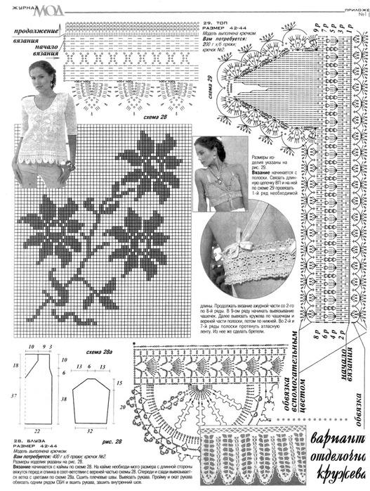 Схемы вязания моделей филейным вязанием 903