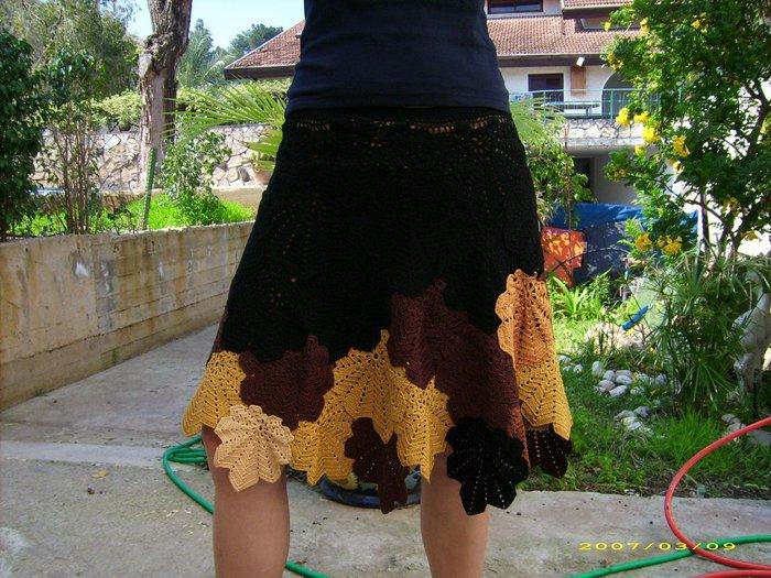 Вязание юбка из кленовых листьев