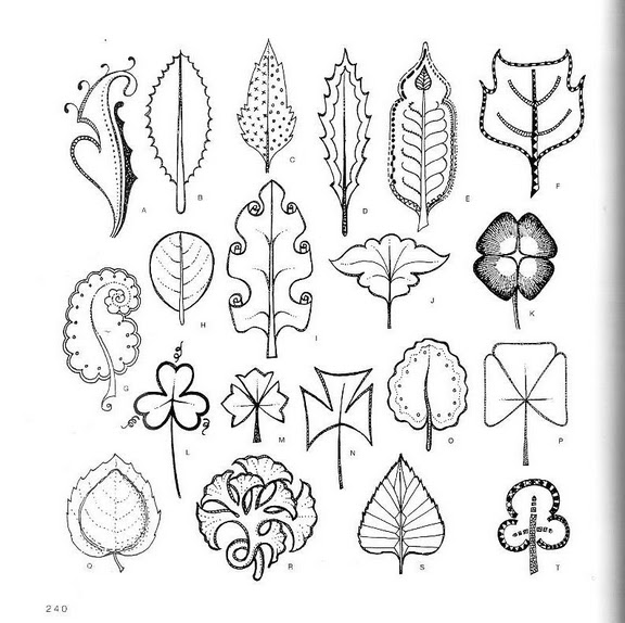 Шаблоны листьев.  Стилизованные листочки.
