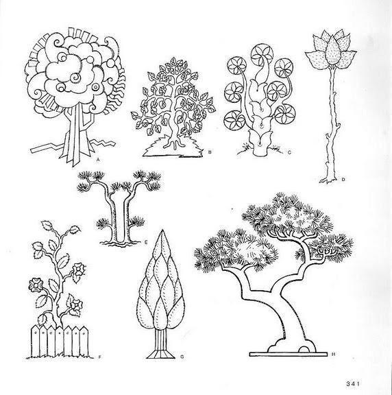шаблоны рисования плодов и деревьев.