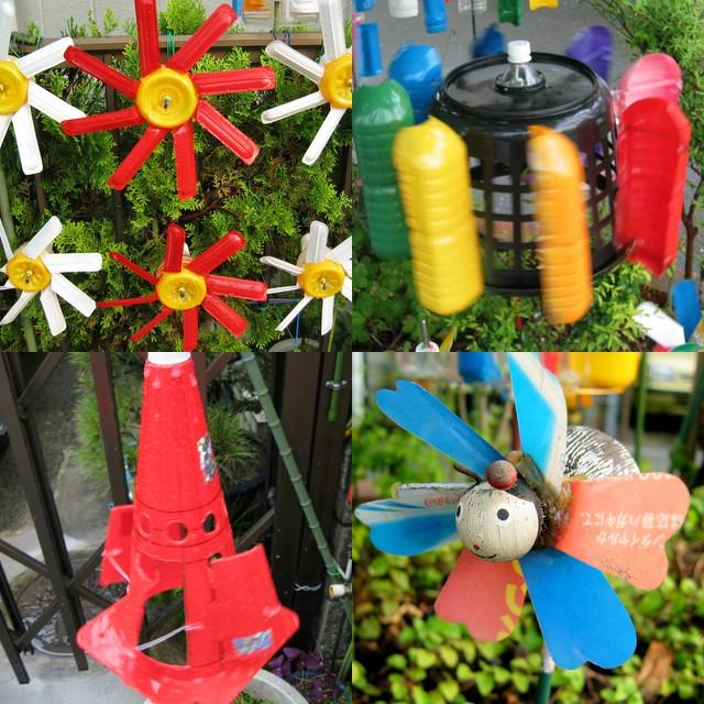 Вертушка из пластиковой бутылки для сада своими руками