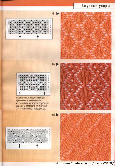 Японские ажурные узоры спицами со