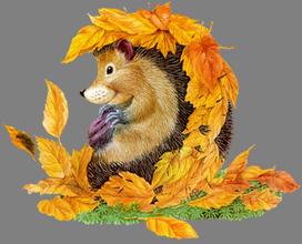 """Предпросмотр схемы вышивки  """"ёжик в листьях 1 """". ёжик в листьях 1, ёжик, листья, для детей, предпросмотр."""