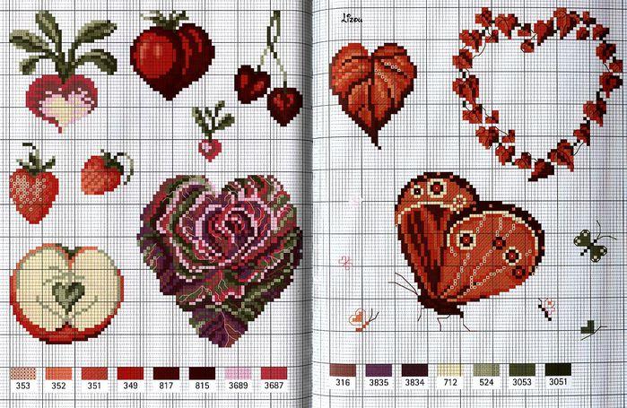 Сердце для вышивки крестиком 521