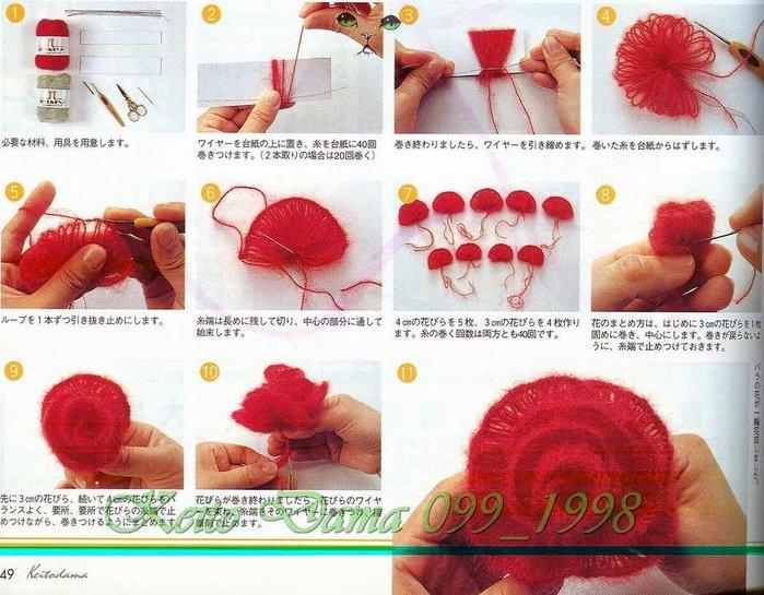схема вязания шарфика, схема вязания шарфика из роз.