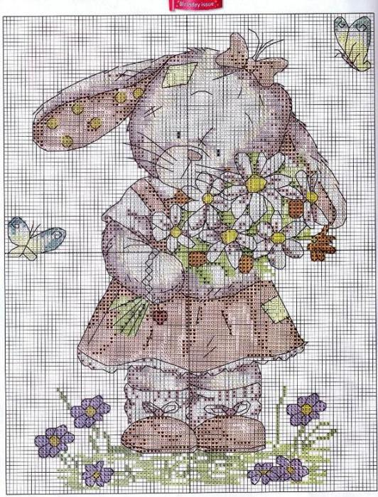 Схема вышивка крестом зайка 28