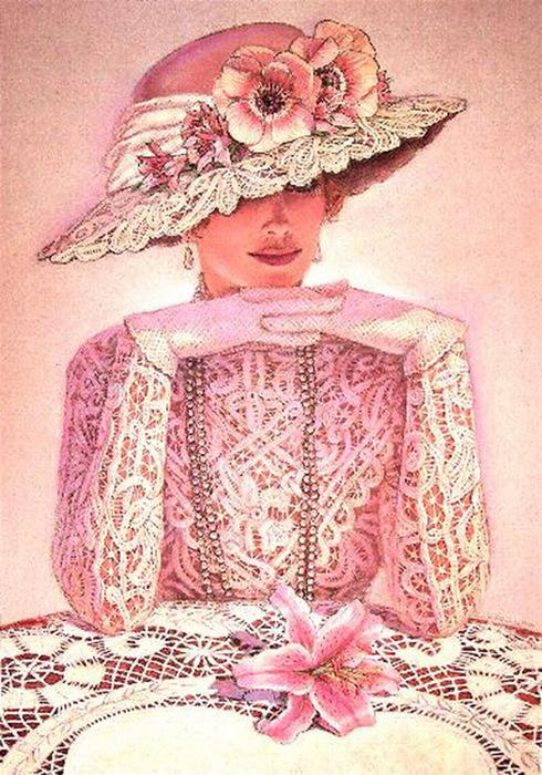 вышивка дамы в розовом выборе