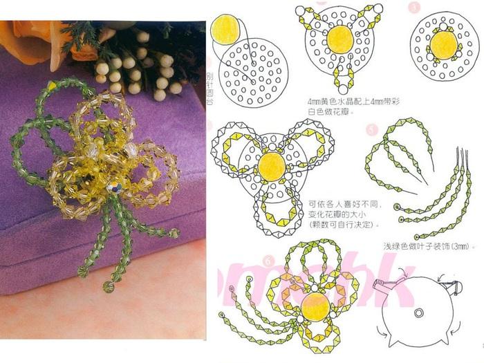 Схема плетения броши из бисера.  Желтая брошь.