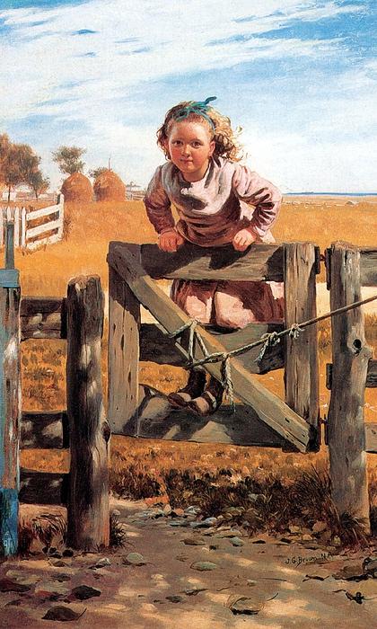 John George Brown (1831 – 1913).swinging-on-a-gate. (420x700, 309Kb)