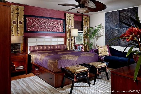 Gold and purple bedroom