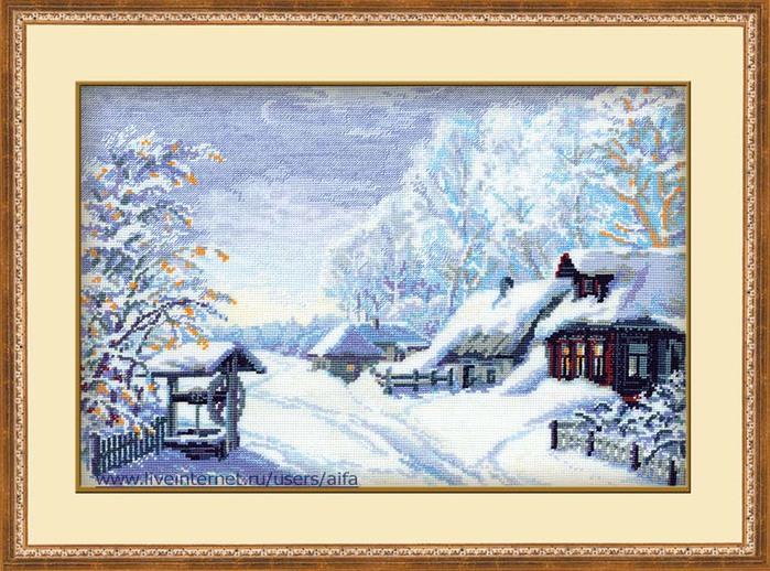Вышивка крестом зимний пейзаж 92