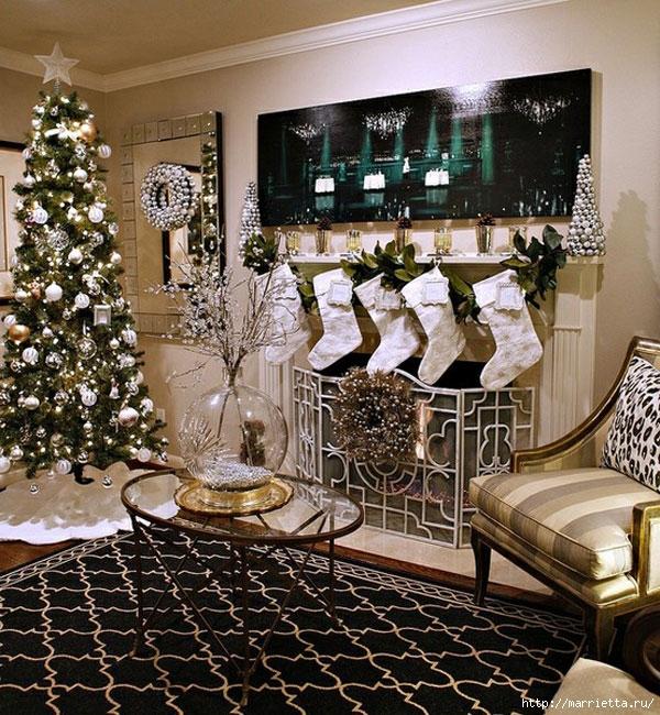 Самые красивые рождественские идеи. Елки в интерьере (34) (600x650, 352Kb)