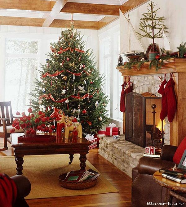 Самые красивые рождественские идеи. Елки в интерьере (38) (600x667, 322Kb)