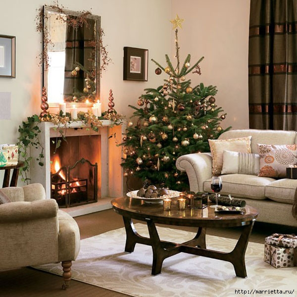 Самые красивые рождественские идеи. Елки в интерьере (49) (600x600, 237Kb)