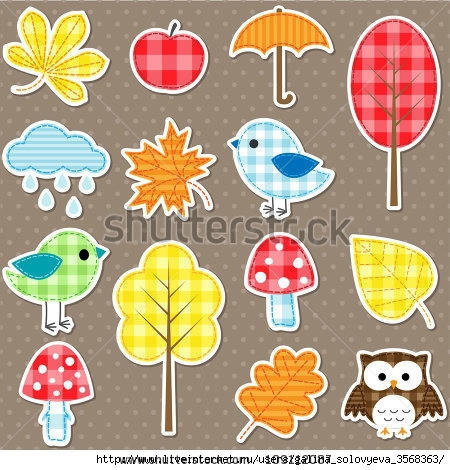 stock-vector-autumn-stickers-trees-leafs-mushrooms-and-birds-109112087 (450x470, 168Kb)