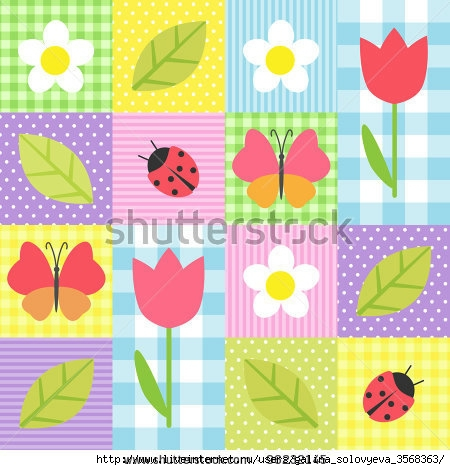 stock-vector-spring-background-with-flowers-butterflies-ladybugs-and-leafs-96232145 (450x470, 139Kb)