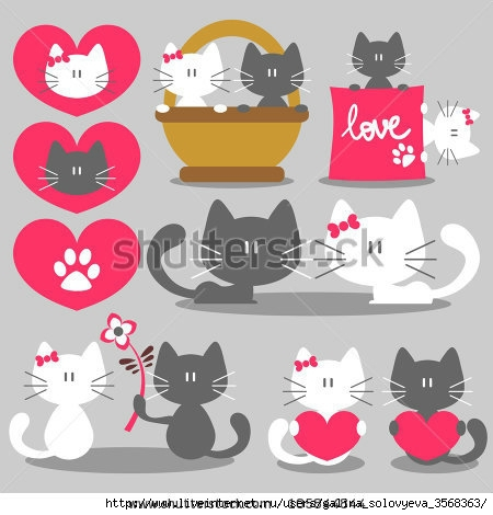 stock-vector-two-cats-romantic-valentine-set-105844844 (450x470, 97Kb)