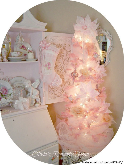 shabby chic christmas  pink white  (526x700, 270Kb)