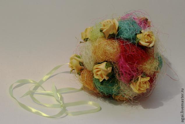 Декоративный шар из разноцветного сизаля. Мастер-класс (9) (635x425, 87Kb)