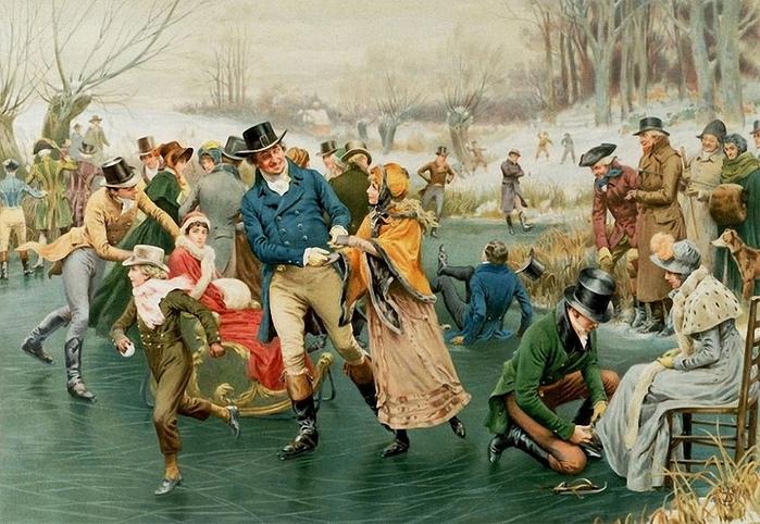 1Frank Dadd (British, 1851-1929) Ice Skating. (700x482, 301Kb)