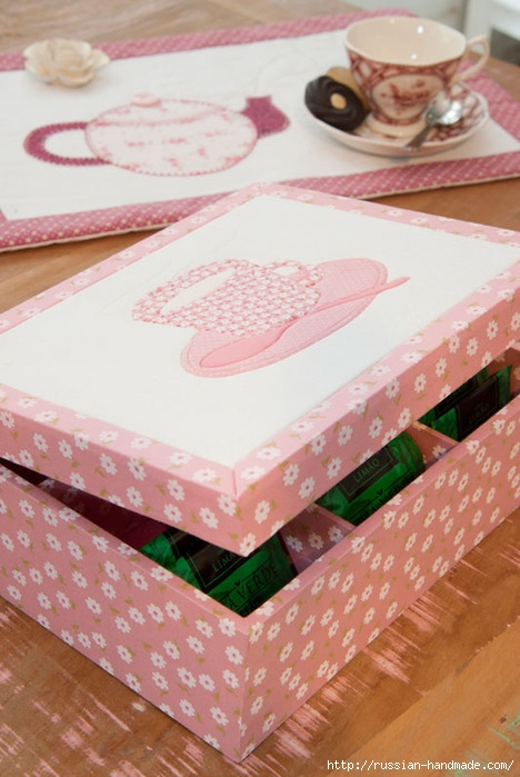 Коробочка для чайных пакетиков. Пэчворк без иголки (1) (468x699, 212Kb)