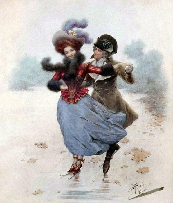 Giuseppe Aureli (Italian, 1858-1929) The Ice Skaters. (596x700, 303Kb)
