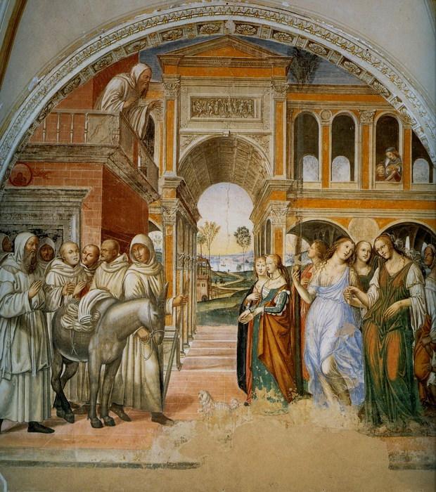 Св. Бенедикт отсылает назад куртизанок, присланных монахом Флорентиусом. 1505-8. Монте Оливето Маджоре. Фреска. (620x700, 172Kb)