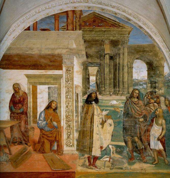 Содома  Бенедикт своей молитвой  восстанавливает сломанное решето.Автопортрет Содомы во фреске «Чудо с решетом». 1505-1508 Фреска. (668x700, 162Kb)