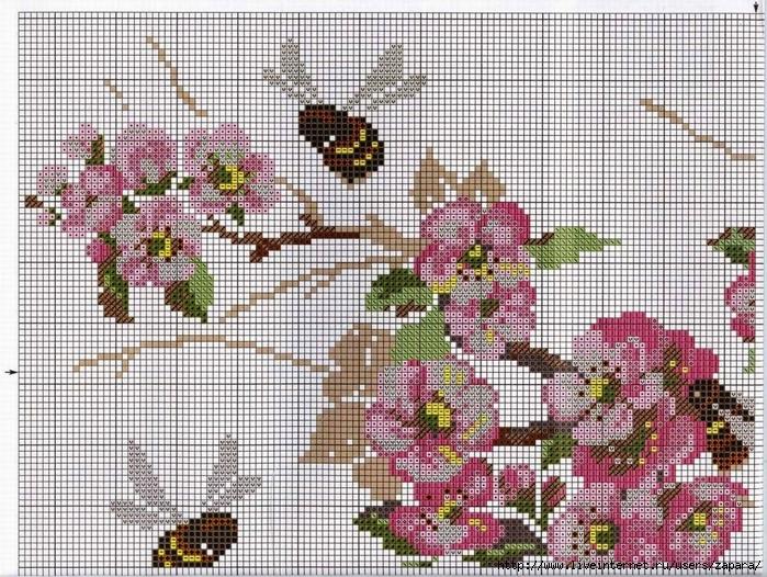 Яблони в цвету вышивка