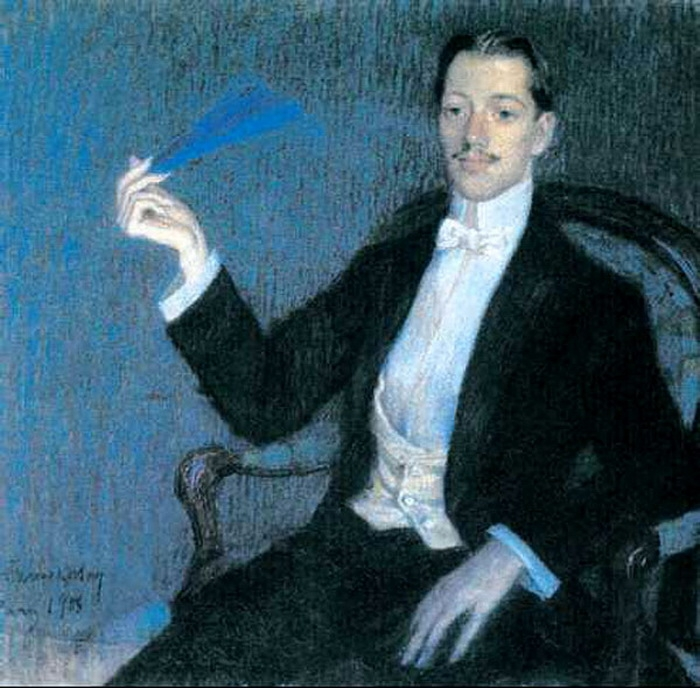 портрет Н. Гумилёва работы М. Фармаковского.1908 (700x688, 277Kb)