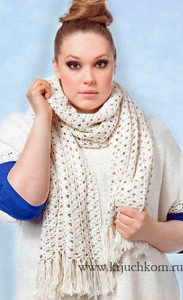 Размер вязаного шарфа: 50 х