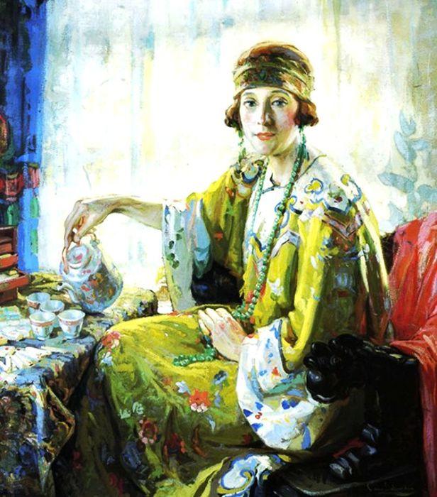 1Christian von Schneidau (American Artits, 1893–1976) Mrs Elwood Riggs 5-oclock (616x700, 86Kb)
