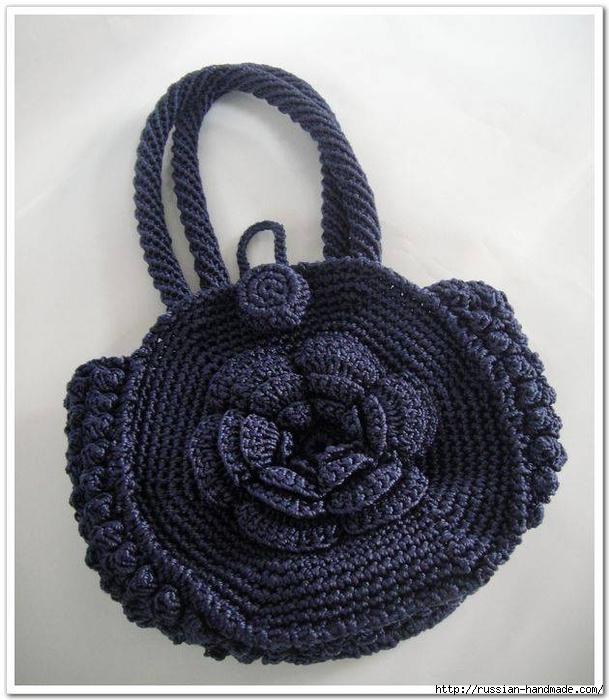 Вязание крючком. Сумочка с цветком (4) (609x700, 262Kb)