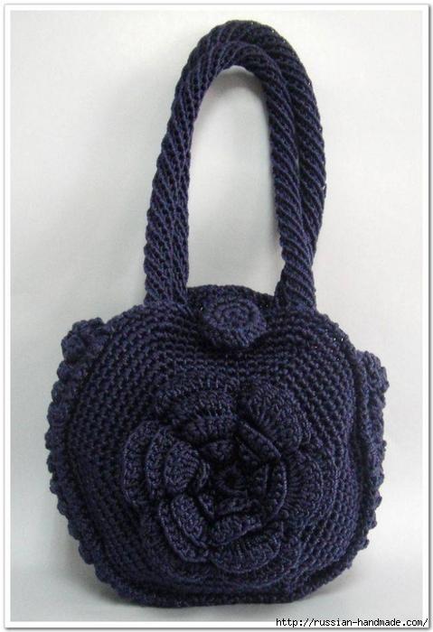 Вязание крючком. Сумочка с цветком (10) (479x700, 209Kb)