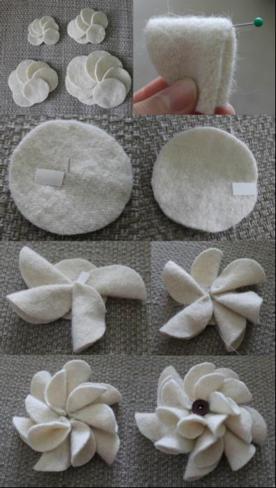 Венок из пряжи и цветочков из вискозных салфеток (3) (396x700, 482Kb)