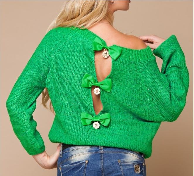 Вязанная кофта зеленая