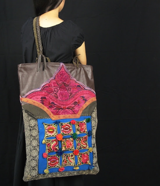 Boho Bag Vintage Hill Tribe Fabric and Genuine Leather 1 (550x640, 190Kb)