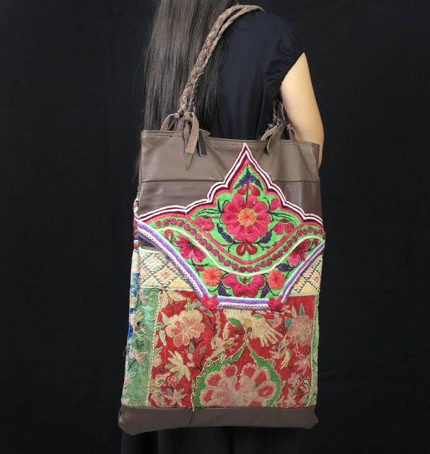 Boho Vintage Tribal Fabirc and Real Leather Bag 2 (607x640, 203Kb)