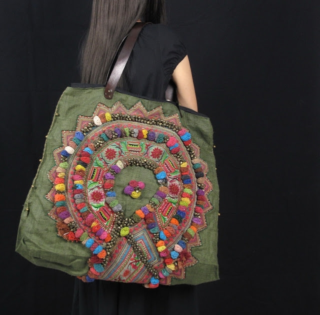 Olive Green Hemp Tribal pom pom Vintage Fabric Hippie Bag 1 (640x629, 219Kb)