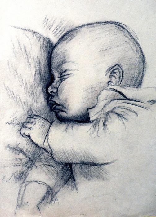 Рисунки спящих младенцев карандашом