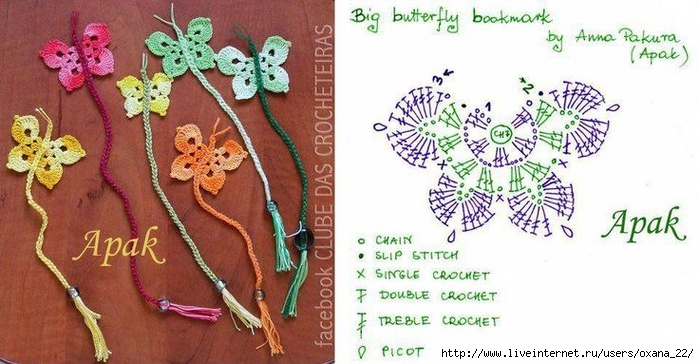 Бабочки, вязаные крючком.