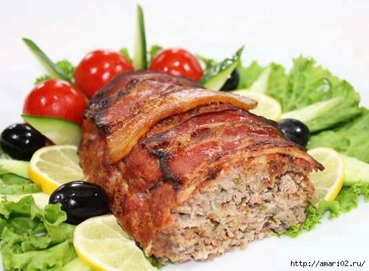 запечённый мясной рулет