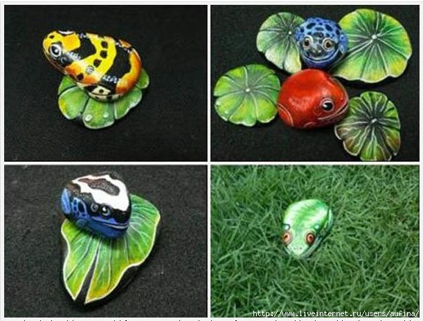Как на камне нарисовать лягушку
