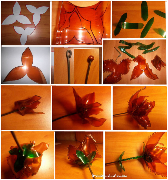 Сделать цветы из пластиковых бутылок пошагово