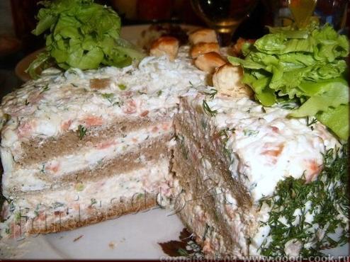 закусочный торт из ржаного хлеба