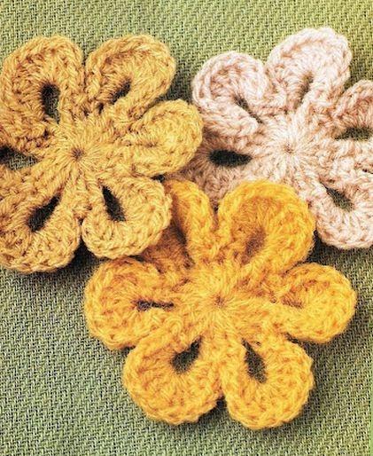 Закладки для книжки из цветочков крючком. Схемы цветов (5) (421x514, 212Kb)