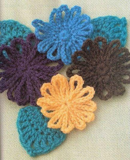 Закладки для книжки из цветочков крючком. Схемы цветов (7) (434x535, 193Kb)