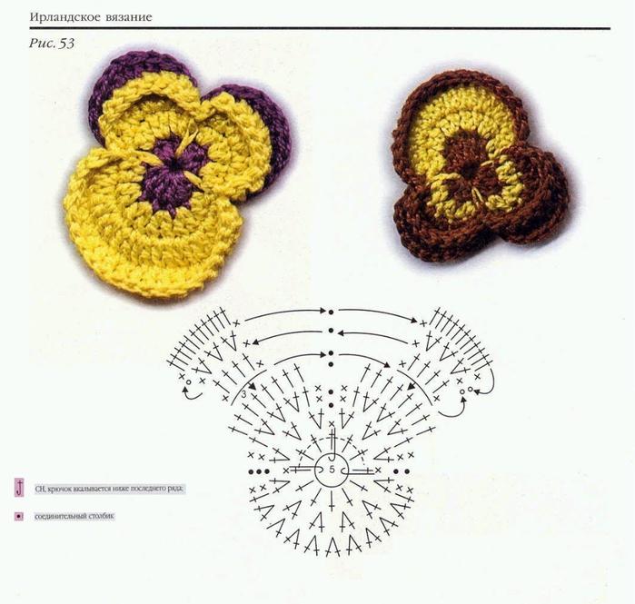 Закладки для книжки из цветочков крючком. Схемы цветов (28) (700x665, 233Kb)