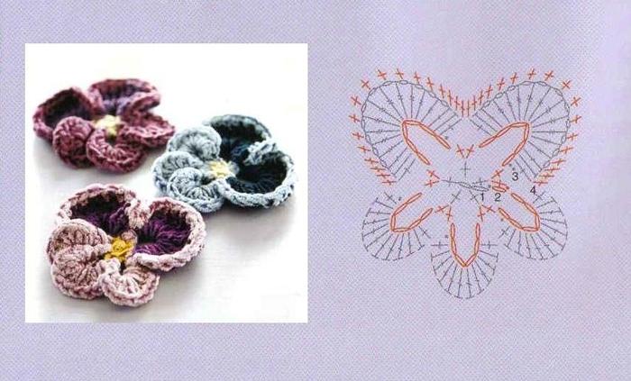 Закладки для книжки из цветочков крючком. Схемы цветов (32) (700x423, 212Kb)